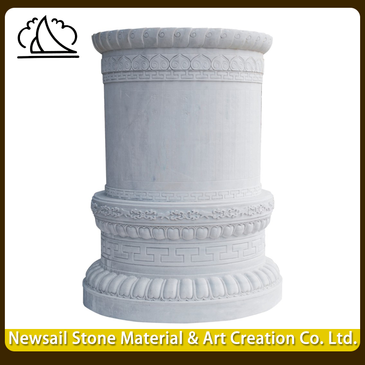 Made In China High Quality White Color Capital Carved Pillars