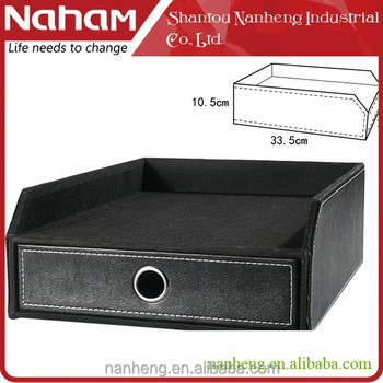 NAHAM hot selling office desk organizer faux leather drawer storage box