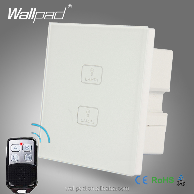 Waterproof Wireless Wallpad White Tempered Glass 2 Gang 2 Way Double RF Remote Touch Controlled Touch Screen Light Wall Switch