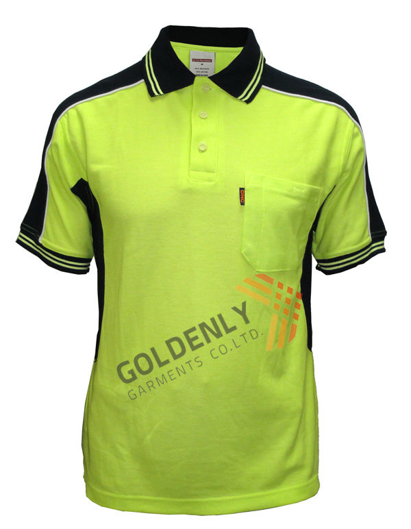 Mens safety pique polo shirt work wear with chest pocket for Mens work polo shirts