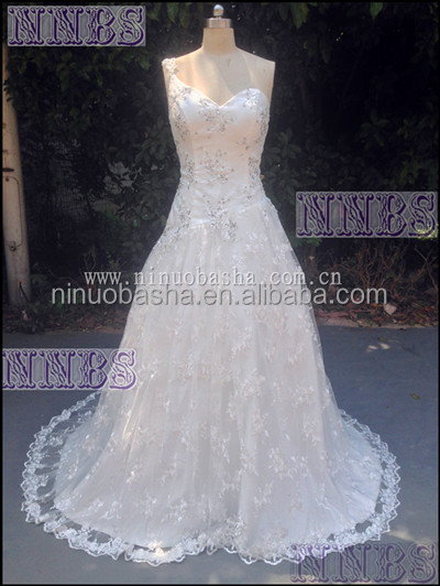 A Line One Shoulder V Neck Beaded Wedding Dress Soft Lace Long Tail Weddng Gown 2015 Hot Sale