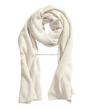 White thin long pure cashmere scarf for elegant women