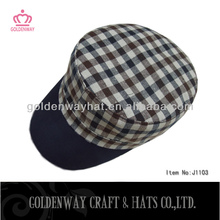 checkered pattern military caps black ant white