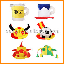 2016 Crazy carnival Soccer Fan Hats for world cup/Funny Football Fan Hats with Logo Printing