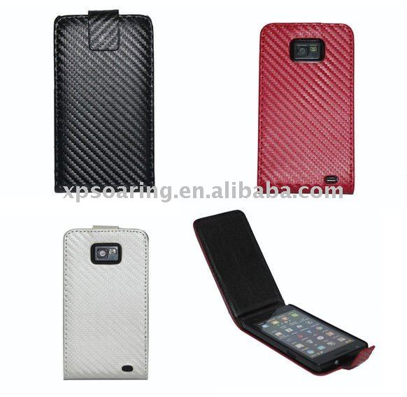 fiber leather flip case pouch for Samsung Galaxy S2 i9100