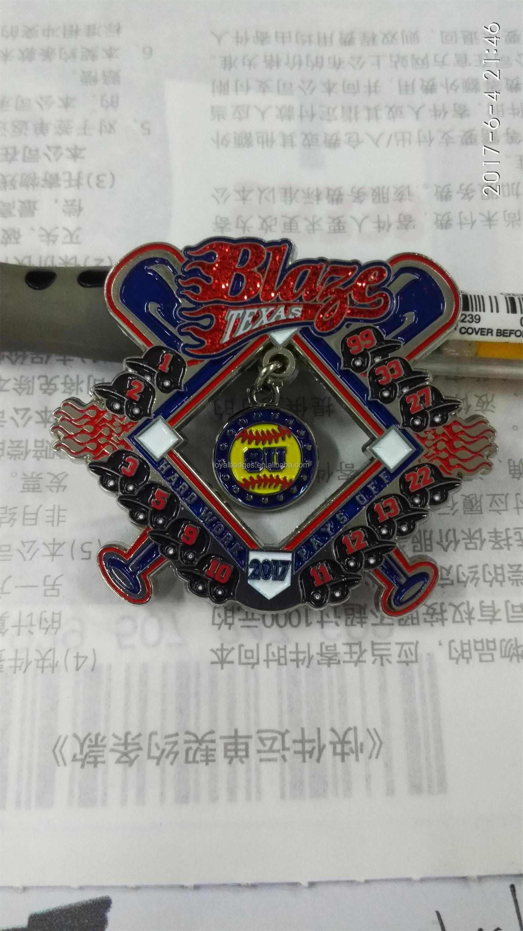 Metal baseball trading pin with dangle