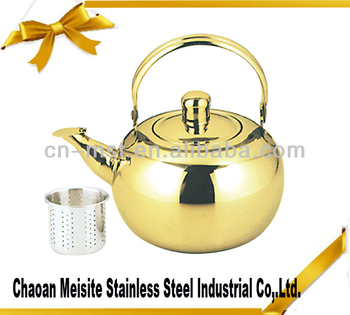 Stainless steel kettle with golden color