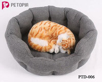 Soft Cotton Linen Material Round Dog Pet Cat House Bed