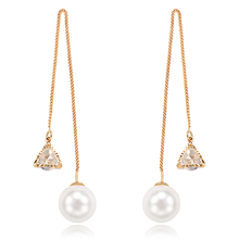 copper Pearl triangle simple string anti - allergy long chain pendant earring with zircon