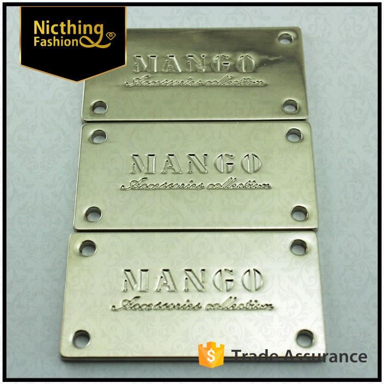 High quality Custom engraved logo metal plate label for handbag/bag/clothing