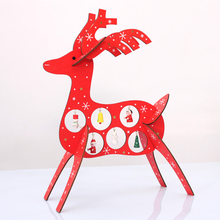 Creative Christmas DIY Wooden Deer Desk Decoration for Xmas Reindeer Wood Ornaments