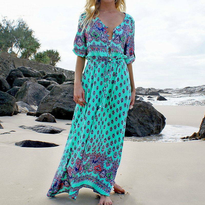 2017 Summer Printed <strong>Dresses</strong> Boho Beach Long <strong>Dress</strong> Sexy Clothing Maxi <strong>Dresses</strong>