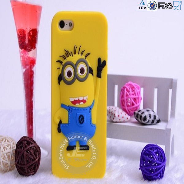 Hot sale cute minion silicone cell phone cover for iphone 5