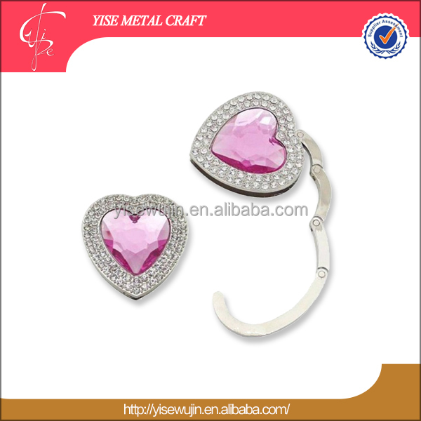 Promotion Wedding Gift heart shape foldable purse hanger/bag hook/bag hanger