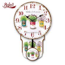 Three cups herbs and red numbers dial antique swing clock