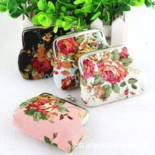 Roses canvas mini zero wallet female fabric hasp coin bag