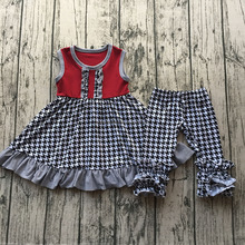 Bulk Wholesale Baby Clothing Boutique Girls Houndstooth Ruffles Icing Pants Outfits Sets CSS18