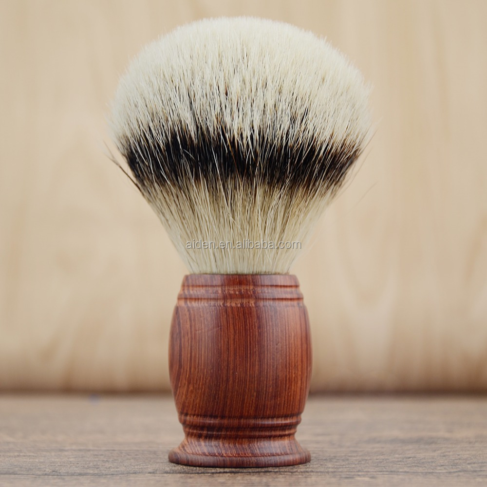 AIDEN--China factory top quality wooden handle silvertip badger hair men shaving brush as a gift