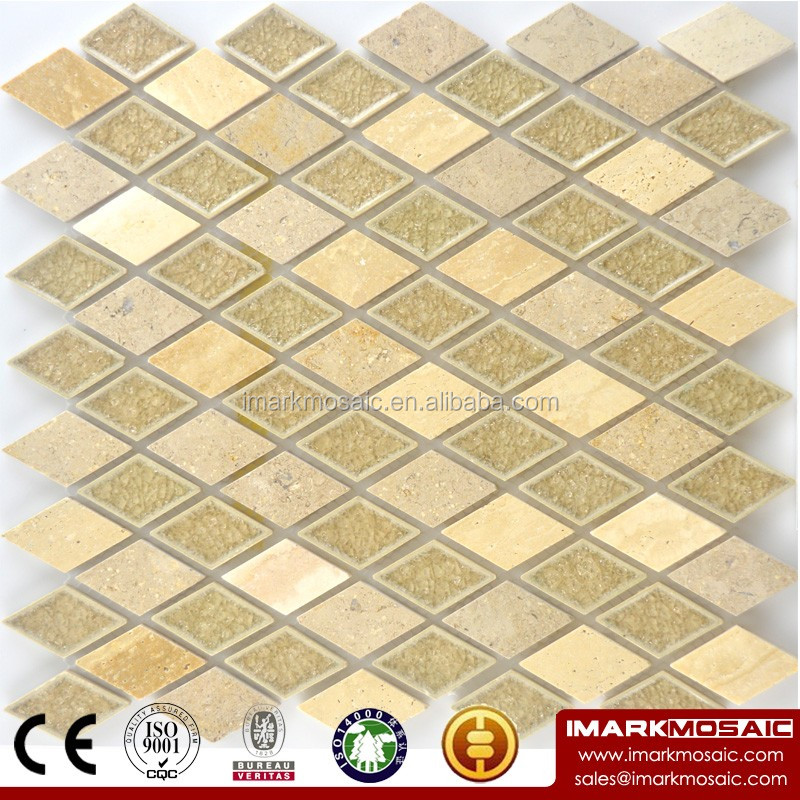 Imark Rhombus Kitchen Backsplash Glazed Crackle Ceramic Tile Mosaic Mix Yellow Travertine Tile Mosaic Pattern / Bathroom Tile