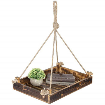Wood rectangle hanging planter tray, Platform Bird Feeder