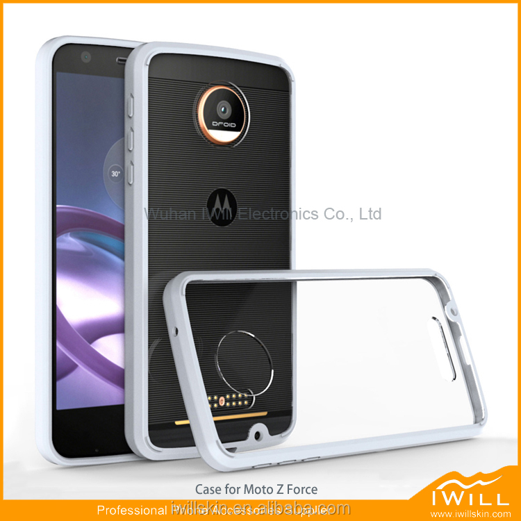 Clear Back Panel Bumper TPU Frame Phone Case For Moto Z Force Cell Phone Case
