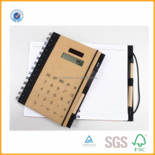 paper cover custom spiral notebook with calculator and colored pen
