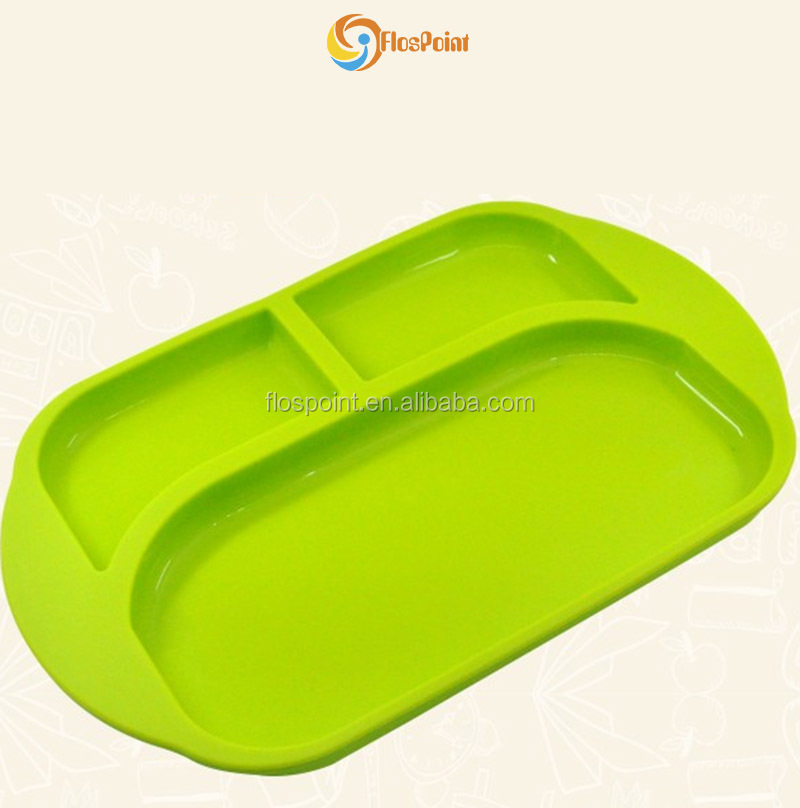 Flospoint Custom Wholesale hot new products Face shape Baby Silicone Grip Dish, Green