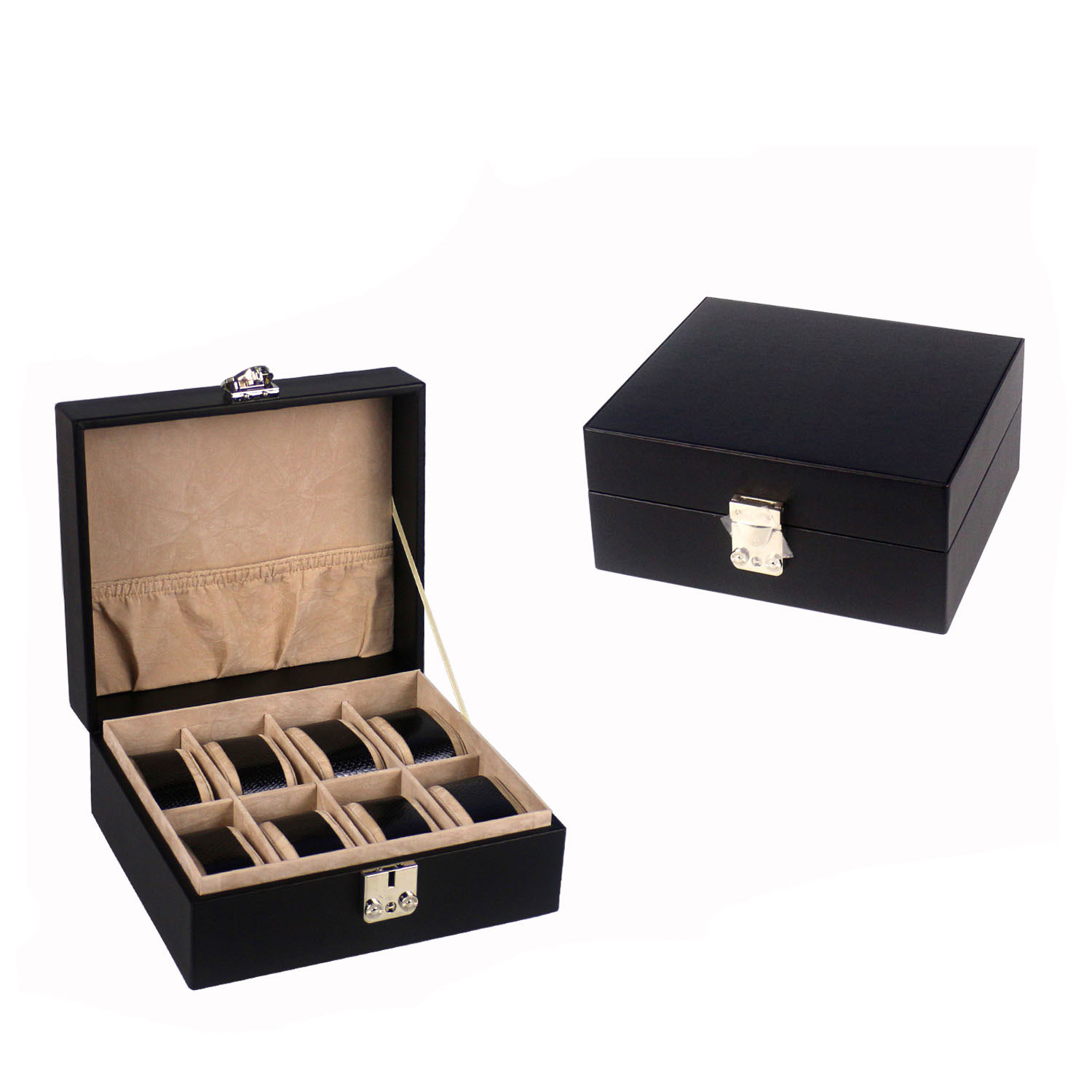 Wholesale black business 8 slots watch storage box with lock