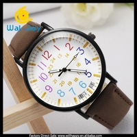 WJ-5144 fashion big color number scale quartz ladies fancy leather western excel wrist watch price