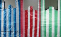 Striped white / red /green/blue candy bags, T-shirt HPDE plastic 26 15x55mm, 14 mic