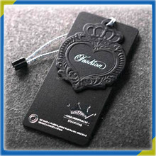 factory cheap garment label 3d clothing tag with embossed logo and custom hang line