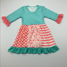 chevron dress 2018 Hot 3/4 Sleeve Chevron dress Fashion baby cotton frocks designs kids party wear dresses for girls