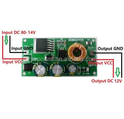 DC 10V -80V to 12V HV DC-DC Buck Step-Down Converter Voltage Regulator Board Power Supply Module
