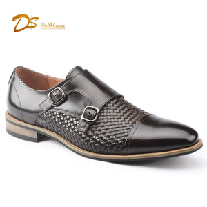 Small quantity order italian lofer woven leather double monk loafers