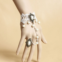 Princess Classic Lolita Wedding Accessories Lace Hollow Out Bride Bracelet With Ring Set
