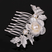 New Fashion Wedding Hair Jewelry for Bridal Silver Plated Elegant Pearl Flower Hair Comb Pearl Hair Pin Clip Accessories