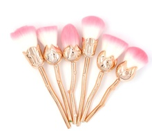 Cosmetic Makeup Tool 6pcs Flower Shaped Rose Gold Make Up Brushes