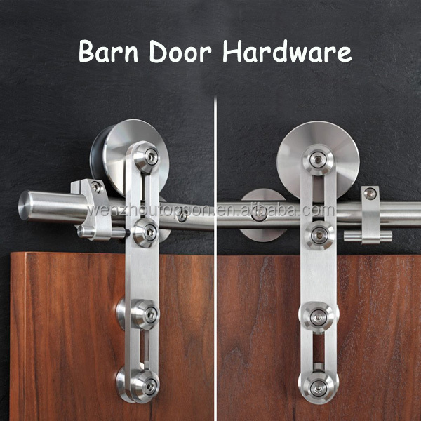 Modern Stainless Steel Sliding Wood Barn Door Hardware, Satin/brushed