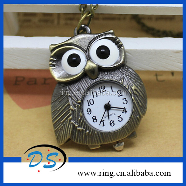 OWL STYLE VINTAGE BRONZE QUARTZ POCKET WATCH PENDANT NECKLACE