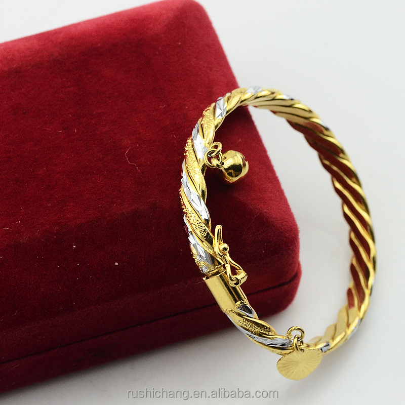 Gorgeous Baby Kid Yellow Platinum Gold Filled Plated Bangle Bracelet Cut Rope Open Carve Jewelry