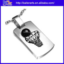 Custom Wholesale Stainless Steel Square Cubic Basketball Pendant Necklace