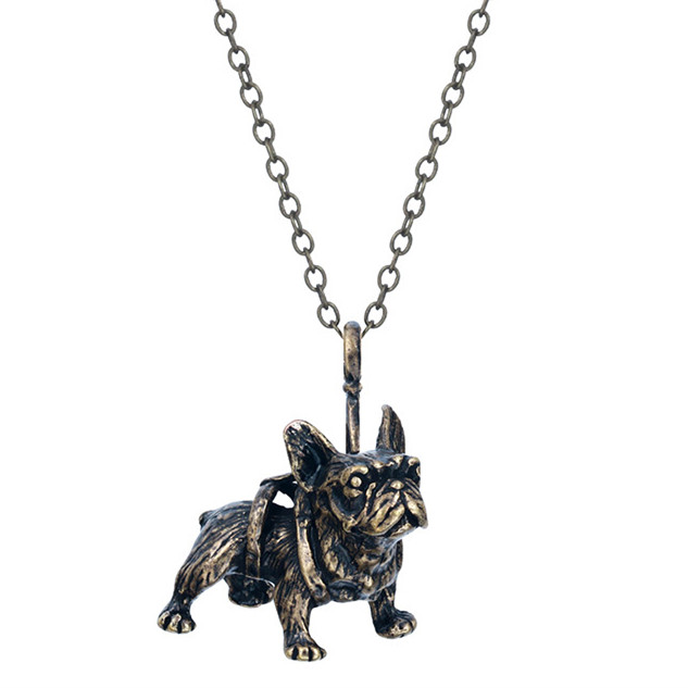 Cute 3D French Bulldog Animal Shaped Pendant Necklace