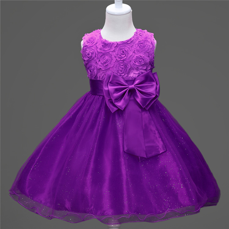 Shortsleeve Flower Organza Girls Party Kids Clothes Girl Dress