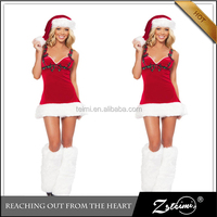 2015 New Arrival Sexy Women Santa Costume With Leg Cover