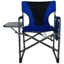 outdoor camping aluminium director chair with side table attached