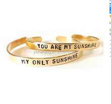 18K Gold Plated Men's Mother Daughter Jewelry Best Friend Brass Bracelets You Are My Sunshine My Only Sunshine
