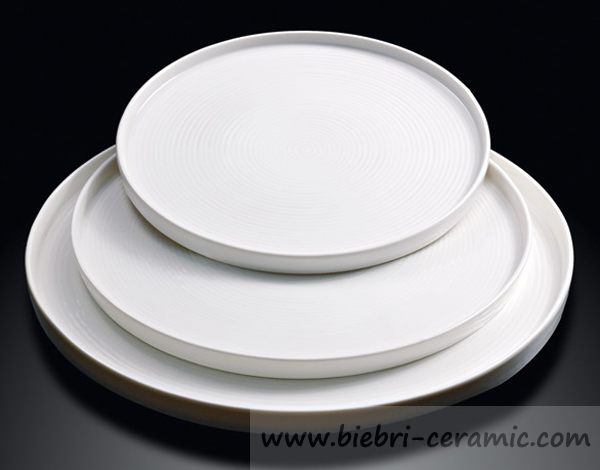 "12"" Modern Designed Popular Plain White Hotel And Restaurant Ceramic Porcelain Pizza Plates Wholesale"