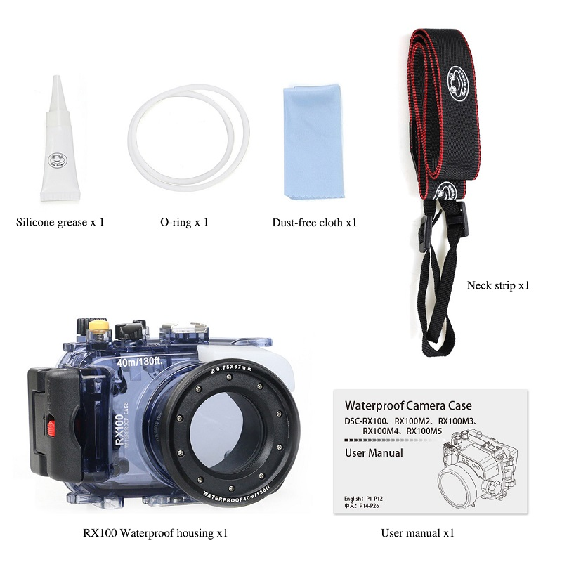 Meikon Diving camera case underwater 40m Waterproof Housings camera case  for Sony camera RX100 I/II/III/IV/V