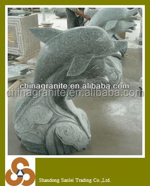 Outdoor marble dolphin water fountain waterfalls