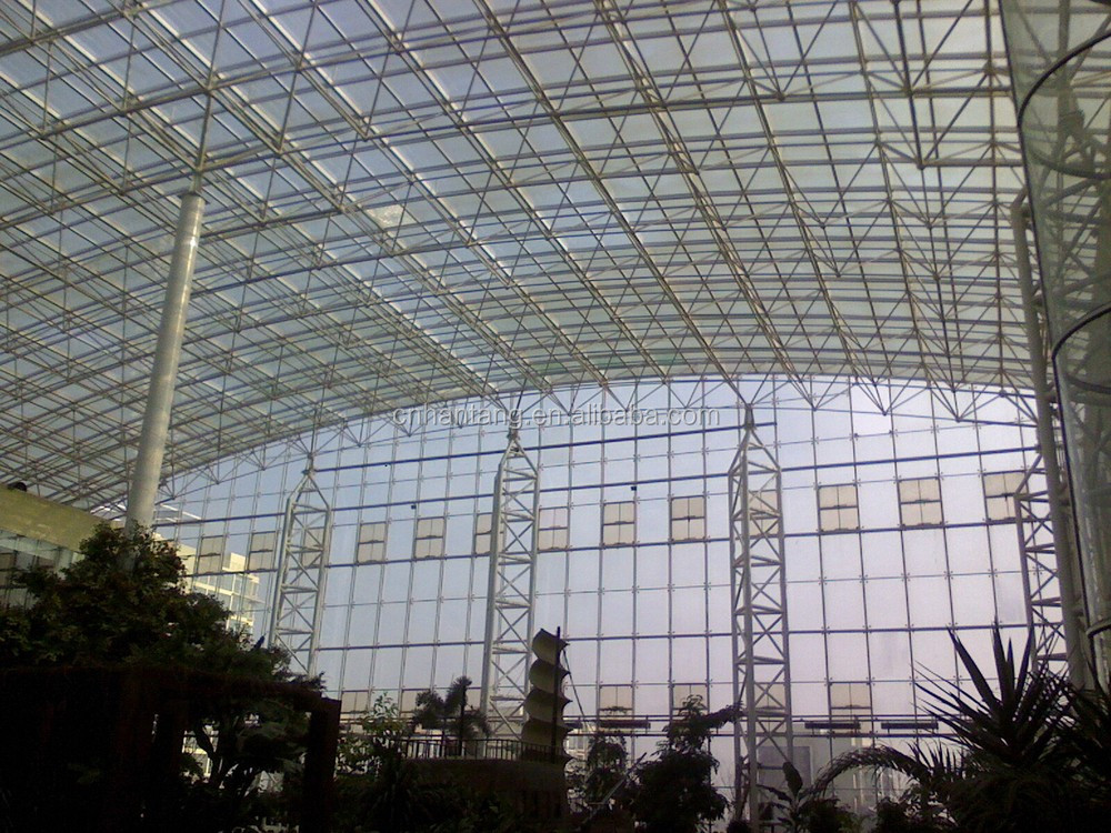 Indoor green show room roof system steel space frame